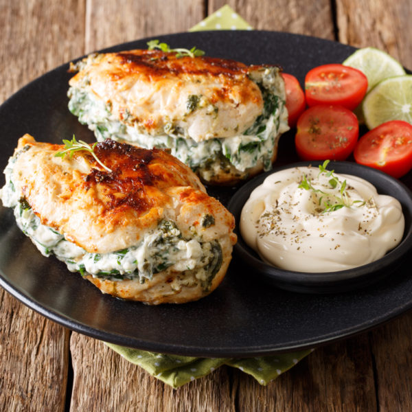 home delivered meals - chicken stuffed with ricotta