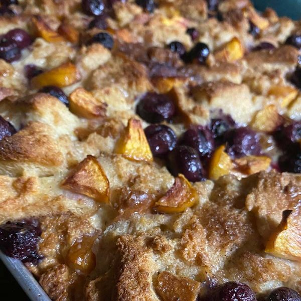 end of summer fruit bread pudding